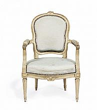 A PAIR OF CARVED AND PAINTED WOOD ARMCHAIRS Probably Piedmont, second half of 18th Century