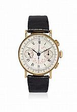MEN'S GOLD WRISTWATCH OMEGA WITH CHRONOGRAPH, '40S