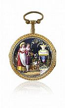 TWO KEY-WINDING ENAMELED POCKET WATCHES, SIGNED VACHERON AND MITCHELL, 1800 CIRCA