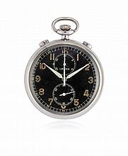 KEY-LESS POCKET WATCH LEMANIA WITH CHRONOGRAPH AND 30-MINUTE COUNTER, '40S