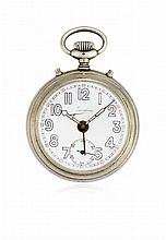 LOT OF TWO KEY-LESS POCKET WATCHES WITH ALARM, SIGNED JUNGHANS AND ZENITH, 1930 CIRCA