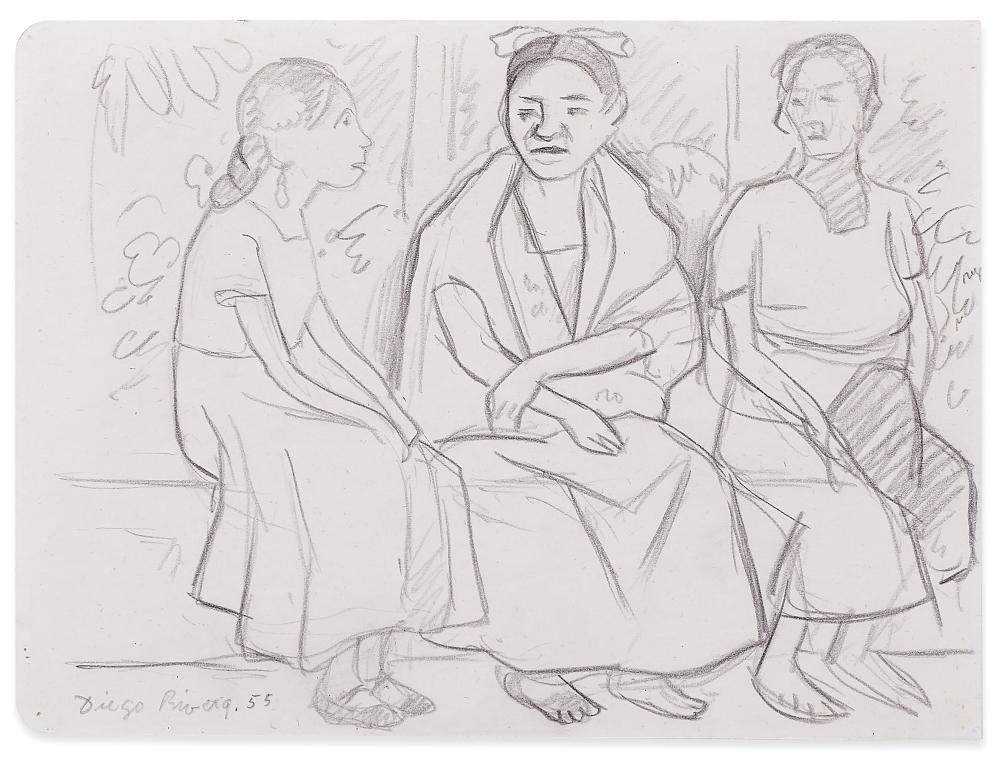 DIEGO RIVERA 1886-1957 Bozzetto de 'Fiesta en Papantla'-Sketch of 'Fiesta en Papantla'