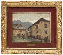 MARIO MORETTI FOGGIA 1882-1954 Borgata Olio su tav