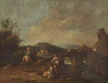 Paesaggio con ponte e pastori - Landscape with bridge and shepherds