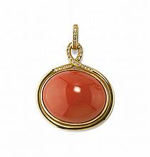GOLD, CORAL AND DIAMOND PENDANT
