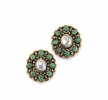 PAIR OF PEARL AND GEM-SET BROOCHES