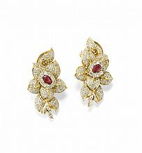 PAIR OF DIAMOND AND RUBY EARCLIPS