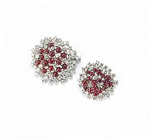 TWO DIAMOND AND RUBY BROOCHES