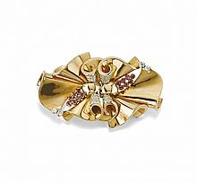 GOLD, RUBY AND DIAMOND BROOCH
