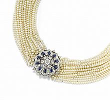 PEARL, BLUE SAPPHIRE AND DIAMOND NECKLACE