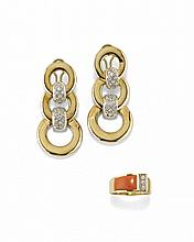 PAIR OF YELLOW GOLD AND DIAMOND EARRINGS AND A RING