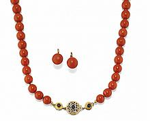GOLD AND CORAL DEMI-PARURE