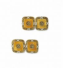 PAIR OF YELLOW GOLD AND ENAMEL CUFFLINKS