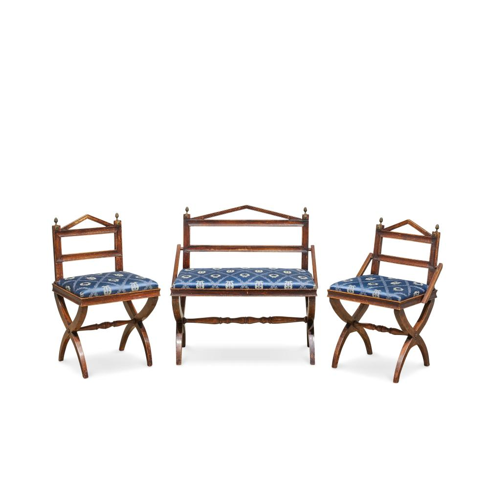 PANCHETTO E PAIO DI SEDIE - BENCH-SOFA AND A PAIR OF CHAIRS