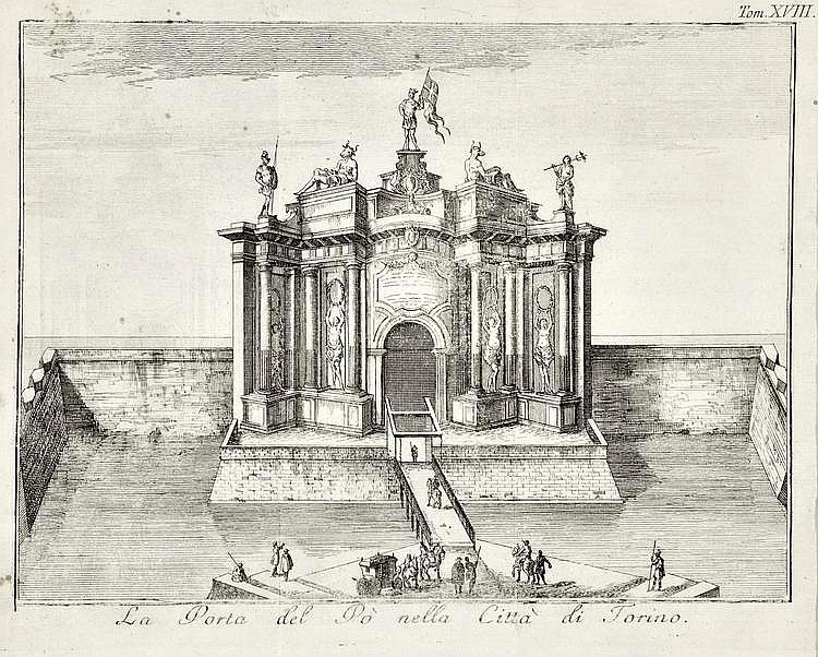 Thomas Salmon (1679-1767) La Porta del Po nella Città di Torino Incisione in rame