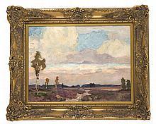 Jörres, Carl. 1870 - Bremen - 1947. Landschaft. Öl/Malkarton. Signiert u. re. C.Jörres. 32 x 41,5 cm / R. 46 x 56 cm.- Weiter Blick in die abendliche Landschaft mit blühendem Heidegras.