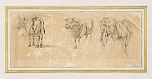von Hess, Peter. 1792 in Düsseldorf - 1871 München. Tierstudie. Bleistift. Signiert u. re. P. Hess sowie verso bez. 15 x 34 cm / im Passepartout 31 x 50 cm. Knickfalte o. re. sowie leicht fleckig u. gebräunt.- Schlachten- und Genremaler, der auch als Grafiker tätig war und in diesem Medium Tierdarstellungen bevorzugte.
