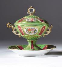 A French polychrome porcelain stand and cover