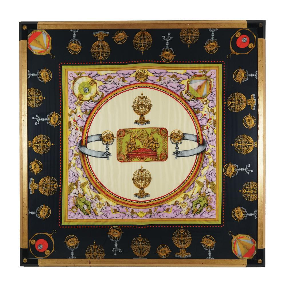 A framed silk scarf