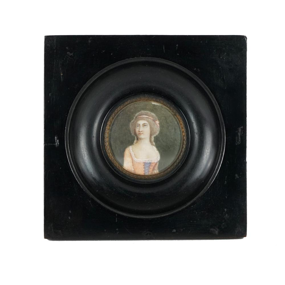 3 oil painted miniatures with female and male portraits, 19th century