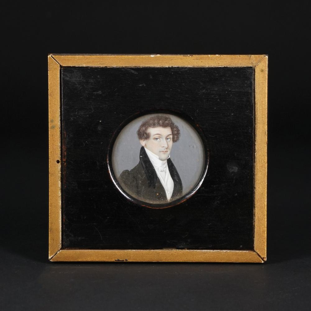 3 early 19th century miniatures with male and female portraits