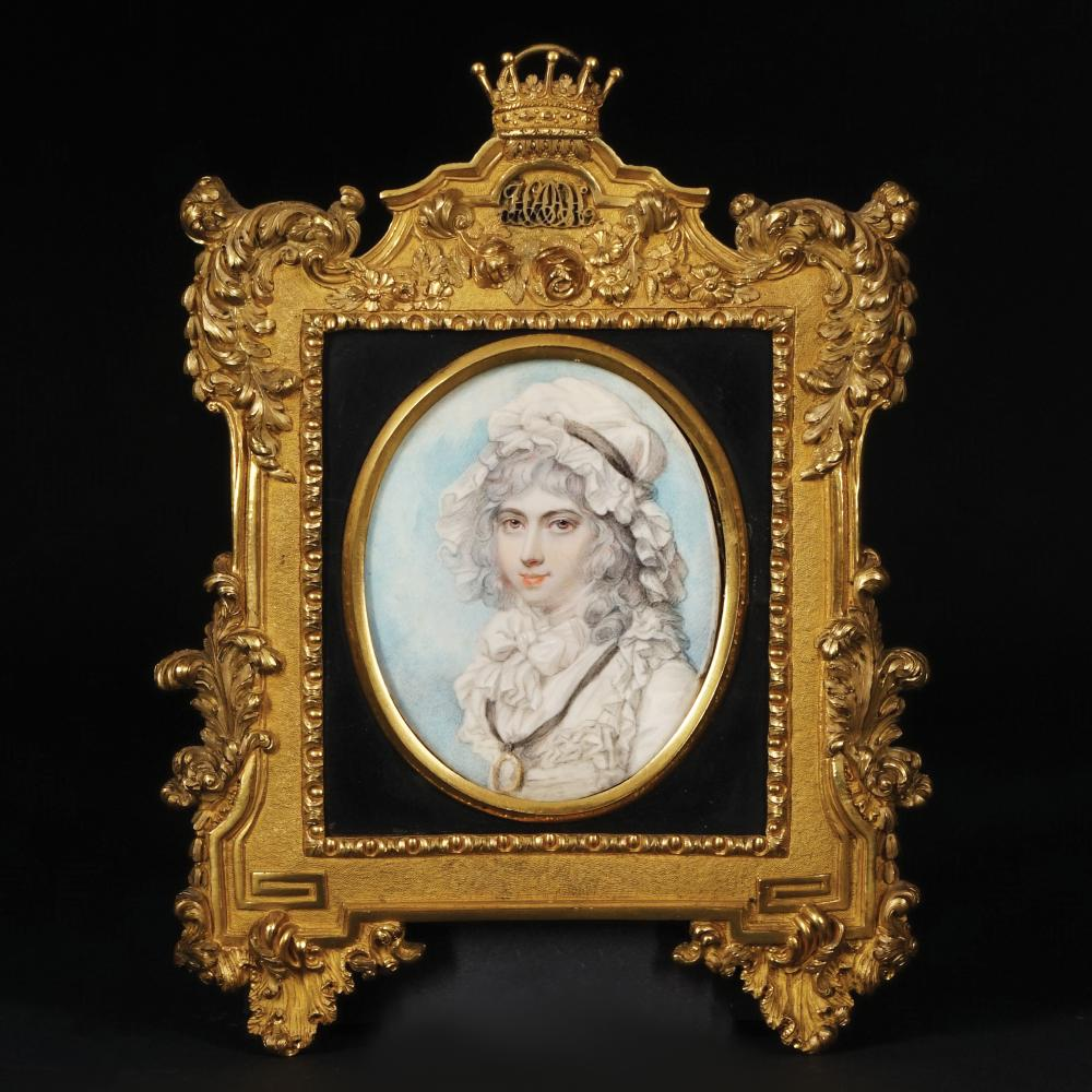 An oval miniature depicting Lady Harriet Hobart Countess of Belmore, first half of 19th century