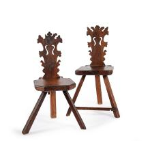 Two antique walnut sgabelli