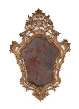 A small gilt-wood wall mirror