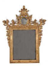 A Louis XIV Venetian gilt wood wall mirror