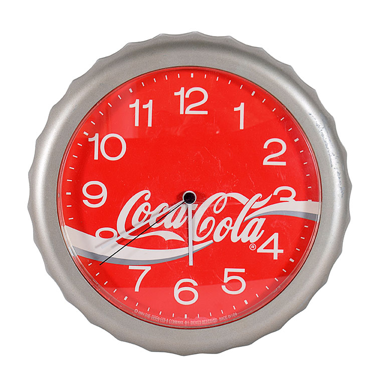 Three Coca-Cola and Pepsi-Cola plastic wall clocks, '90s