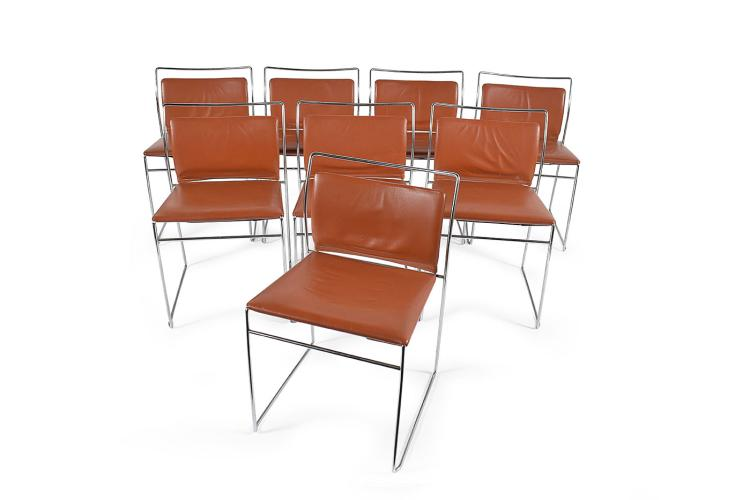 Eight steel and leather-bound Tulu chairs, Kazuhide Takahama for Simon, 1968