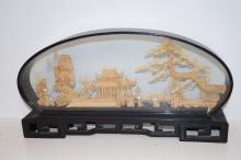 Oriental scene cork work