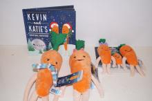 Aldi Kevin and Katie's Christmas adventure book and 5 carrot teddies