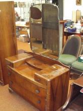 Walnut drop-well dressing table