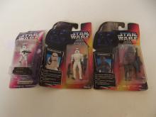 Three Star Wars figures, Chewbacca, Strormtrooper and Stormtrooper stamper