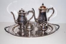 A silver plated tea set