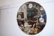 Frameless etched wall mirror
