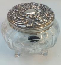 Silver lidded dressing table bowl. Birmingham hallmark