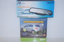 Rear parking assistance system, unopened, together with a hands free kit, also as new