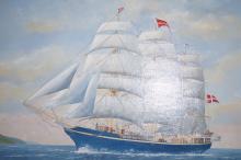 Harry Haysham acrylic on board of a ship