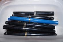 Box of fountain pens. x10. Some 14ct gold nibs