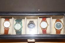 Cased group of five fashion watches, well presented