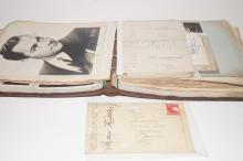 Autogtaph album, stars of stage and film to include a Max Miller signed postcard, Henry Hall, Jack Powell  and many more