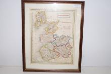 Early Lancashire map, dated 1833 with railways published by Chapman and Hall. no168 25cm x 25cm