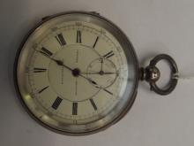 Silver cased Chronograph pocket watch with key wind, currently not ticking