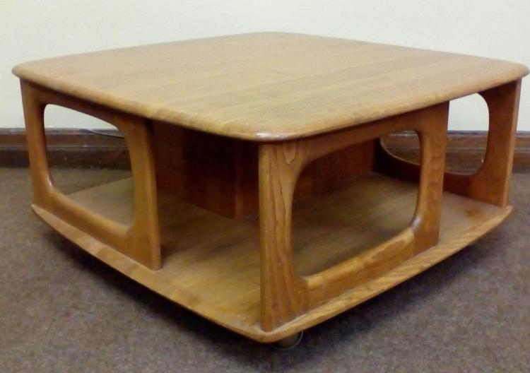 Ercol 39 pandora 39 s box 39 coffee table in light elm with integr for Coffee tables 80cm wide