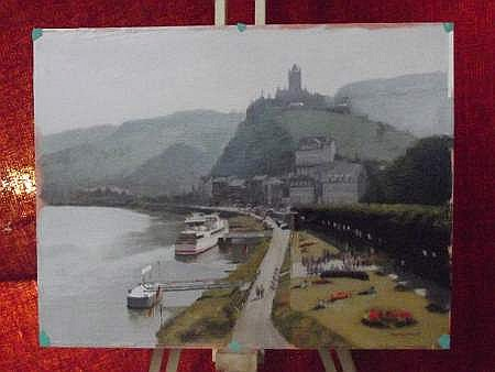 R. WHITAKER - oil on artist paper. Cochem, Germany