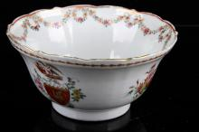 18TH CENTURY CHINESE EXPORT ARMORIAL BOWL painted with floral swags.W:4.75