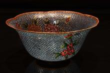 [CHINESE]THE LATE OF NINTEEN CENTRY STYLE CLOISONNE ENAMEL BOWL PAINTED WITH FLOWERS W:7.75