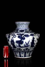 [CHINESE]MING DYNASTY STYLED BLUE AND WHITE PORCELAIN POT PAINTED WITH LOTUS BRANCH FIGURE W:14.50